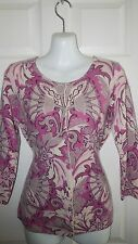 TALBOTS 100% CASHMERE PINK PAISLEY FLORAL CARDIGAN SWEATER M / L