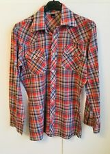 """MLC Red & Blue Checked Fine Cotton Long Sleeved Shirt - size S approx 36"""" chest"""