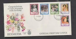 Bermuda 1986 60th Anniversary Birth Queen Elizabeth 11 sealed FDC per Scan