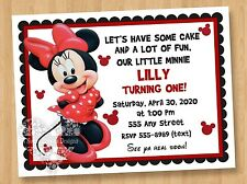 10 - Minnie Mouse Red Dress Birthday Party Invitations Adorable Cute Unique