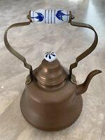 Vintage Large Old Dutch Copper Tea Kettle Pot Porcelain Handle Farmhouse Style