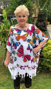 Sequined Butterflies Short Kaftan top fits size 24-34 One stop shop colourful