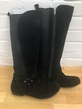 Womens Khombu Boots Black Knee High Suede Leather 10 UK 7.5 Flat Winter Shoes