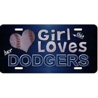 this girl loves her dodgers baseball mlb la los angeles license plate usa made