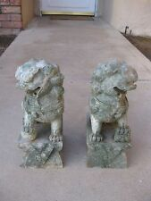 Estate Find Pair Large Heavy Vintage Antique Carved Soap Stone Foo Dogs RARE!!!