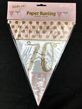 70° Compleanno Pennello Bandiera Banner Rosa & Oro Decorazioni Festa 70 Anni