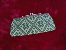 Vintage Green White Woven Leather Lined Kiss Lock Coin Purse