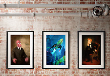 "Futurama art set 3 posters Fry as Lincoln Zoidberg as Truman 18""x24"" collection"