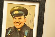 YURY GAGARIN Signed Photo Postcard Genuine Autograph Note Russian USSR Cosmonaut