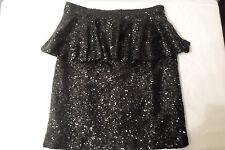 Black Sequin Skirt Size Medium Sparkle Fully Lined Flounce Mustard Seed
