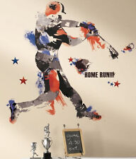 "BASEBALL PLAYER wall stickers MURAL 22 decals 37"" men's boy's sports decor ball"