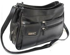 Multi Compartment Handbag with Adjustable Shoulder Strap. Black. Style No: 3265.