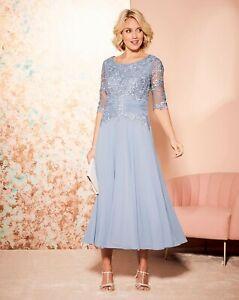 BNWT Nightingales Lace Detail Dress Silver Grey UK 28