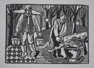 MAPLE SYRUP : HELEN WEST HELLER 1947 American Woodcut