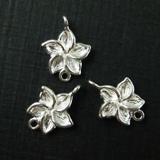 925 Silver Flower Charm- Fragapani Flower - Silver Link Connector - 11mm -3 pcs