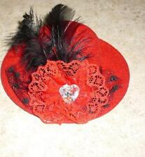 Red Hat w/Plume & Clear Stone Accent for Gene & Friends Doll