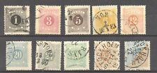 Sweden 1874 Postage Due, Scott J 1 to J 6 and J 8 to 11 Vf + used