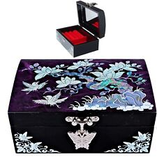 Antique Jewelry box Mother of Pearl Jewelry Organizer  Women Gift 1007Purpleu