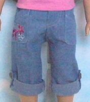 """Embroidered Roll-Up Capri Jeans Pants for 18"""" American Girl Doll Clothes or Baby"""