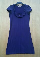 Oasis size XS dark purple knitted fitted dress with 100% Silk trim