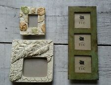 Lot of 3 Metal & Resin Green Beige Leaves Rustic Shabby Cabin Picture Frames