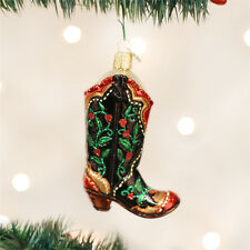 Holly Berry Cowboy Boot Glass Ornament