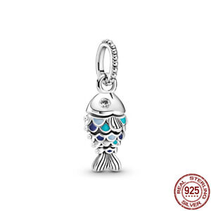Blue Scaled Fish & Blue Globe 925 Sterling Silver Charm Without Pandora Pouch