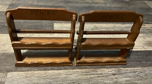 Lot Of 2 Vintage Wooden 2-Tier Spice Rack Wall Hanging or Standing Shelf