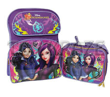"THE DESCENDANTS BACKPACK & LUNCH BOX SET! PURPLE TWO GIRLS LARGE SCHOOL 16"" NWT"