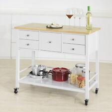 SoBuy Kücheninsel Sideboard Küchenwagen mit 5 Schubladen und 1 Ablage FKW80-WN