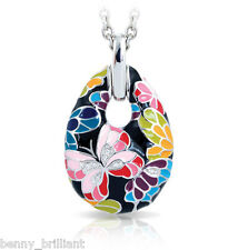 "Belle Etoile Butterfly Kisses Black Pendant NWT 18"" Rolo Chain Included"