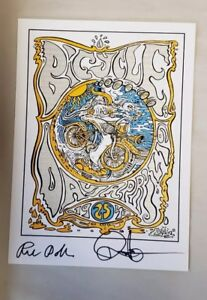 Rick Doblin and Duncan Trussell signed blotter art by artist Joshua Marc Levy