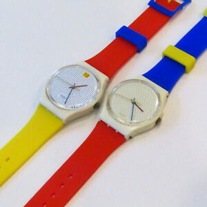 "Vintage SWATCH Watch ""Dotted Swiss"" ""Ping Pong White"" 1985 STRAP SWAP GW103 104"
