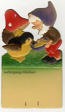 Wichtel mit Fliegenpilz, Kalenderaufhänger um 1940, geprägte/ Dresdner Pappe
