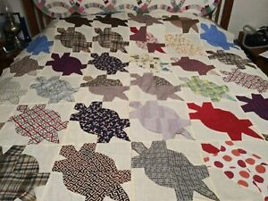 Antique old vintage sea turtle quilt top