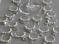 20 Wedding Wine Glass Charms,hen,party. Choose Your Own Colour Pearls.