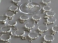 30 Mixed Wine Glass Charms. Wedding, Hens. Party. Favours. Choose Pearl Colour