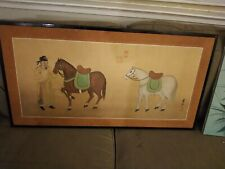 Antique Chinese Painting On Silk Man With Horses