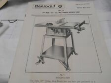 "Rockwell-Delta #34-400 10"" Tilting Arbor Bench Saw ,Manual & parts List"