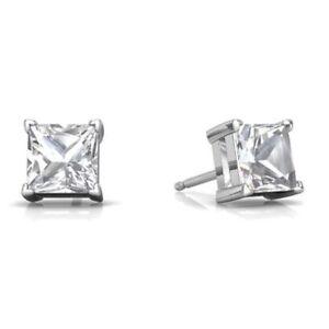 2 Ct White Sapphire Princess Cut Stud Earrings 14Kt White Gold