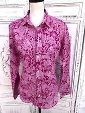 FRANK & EILEEN Shirt Size S Barry Floral Women's Pink Red 100% Linen Button Up