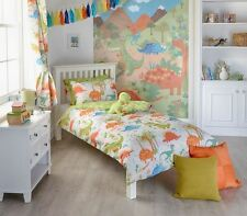 KIDS DINOSAURS GREEN BLUE SINGLE 135 X 200CM COTTON BLEND DUVET COVER