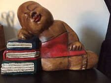 Splendida Scultura Buddha In Legno