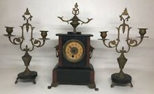Ancienne Garniture Horloge De Cheminée En Marbre À révisé