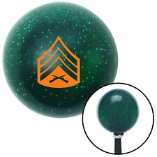 Orange 04 Sergeant Green Metal Flake Shift Knob with 16mm x 1.5 Insert flathead