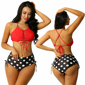 Girl Women Swimsuit Bathing Suit Tankini Bikini Set Backless Top+Thong Triangle