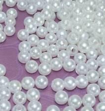 500 Perlen perlmutt weiß Dekoperlen mit Loch Hochzeit Wachsperlen Tischdeko 8mm
