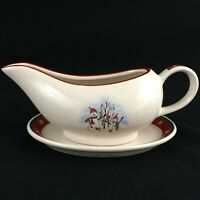 VTG Gravy Boat and Underplate by Royal Seasons Stoneware Snowmen RN2 Christmas