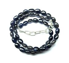 """120.60 Ct Natural Iolite Gemstone Smooth Oval Beads 1 Strand 19"""" NECKLACE S13"""