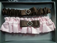 Weddingstar 7153 Chocolate & Strawberry Cream Two Piece Bridal Garter Set